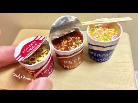 Realistic resin(air dry)clay beef instant noodles tutorial by Mindy's Miniature
