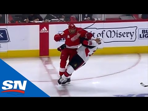 Niklas Kronwall Flattens Rudolfs Balcers With A Huge Hit And Mark Stone Takes Exception