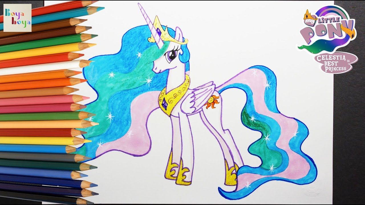 My Little Pony Mlp Princess Celestia Drawing Coloring How To