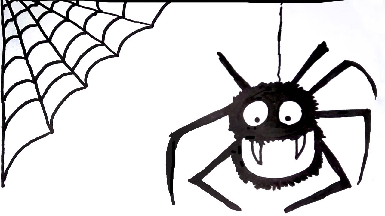How to Draw a Cute Halloween Spider - Spider Drawing - YouTube