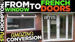 French door conversion, how to remove window