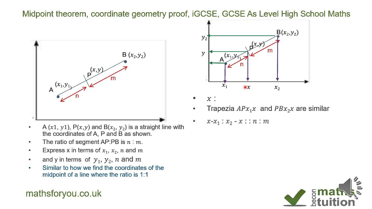 Midpoint theorem coordinate geometry proof igcse gcse as level midpoint theorem coordinate geometry proof igcse gcse as level high school maths part 3 ccuart Images