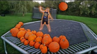 Giant Trampoline Vs Pumpkins!!