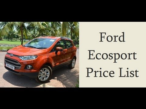 Ford Ecosport Price In India Starts At Rs 559 Lakhs Price List