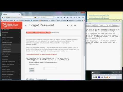 OWASP Webgoat - Authentication Flaws - Forgot Password - YouTube