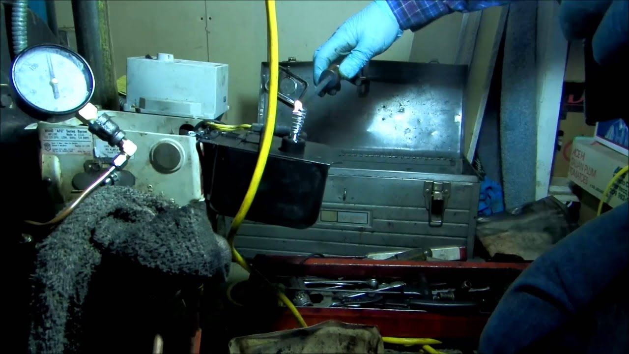 hydroric oil boiler, leak on high vent ,testo 320 - YouTube