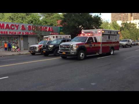 FDNY EMS AMBULANCE RESPONDING ON 161ST STREET IN THE MORRISANIA AREA OF THE BRONX IN NEW YORK CITY.