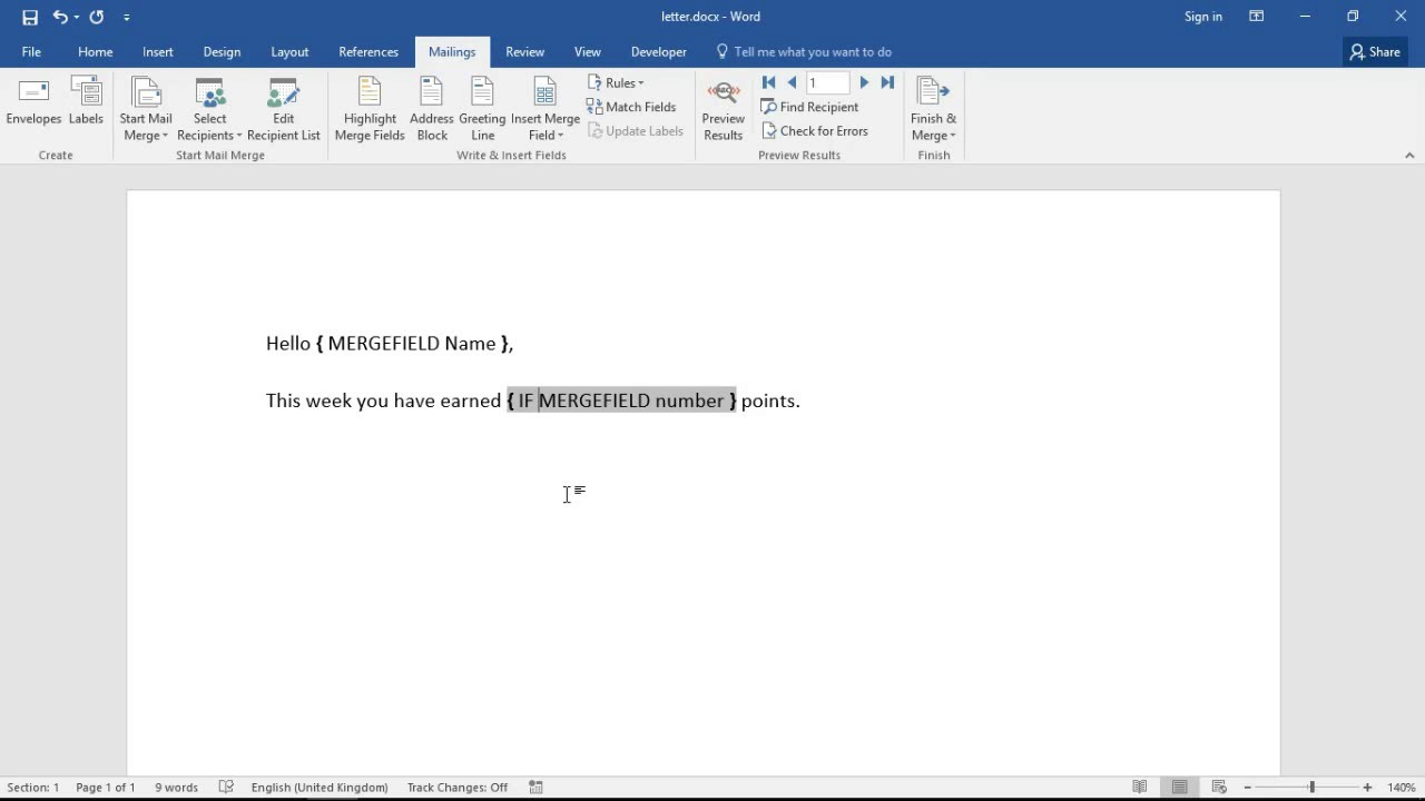 Conditional Formatting with Mail Merge in Word