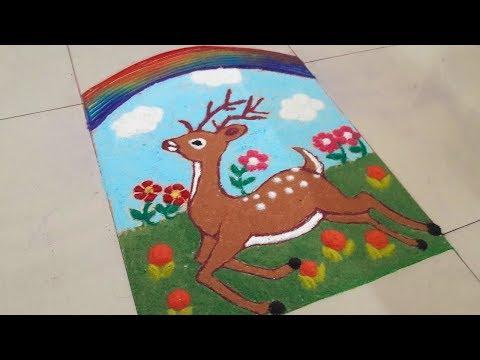 Rangoli For Competition | Beautiful Deer Poster Rangoli Design | Simple Rangoli | Easy Rangoli thumbnail