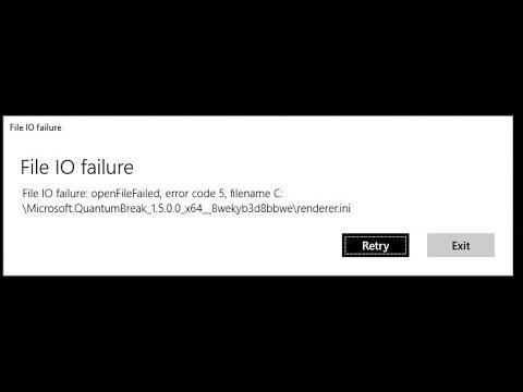 File IO failure вылетает Quantum Break решение