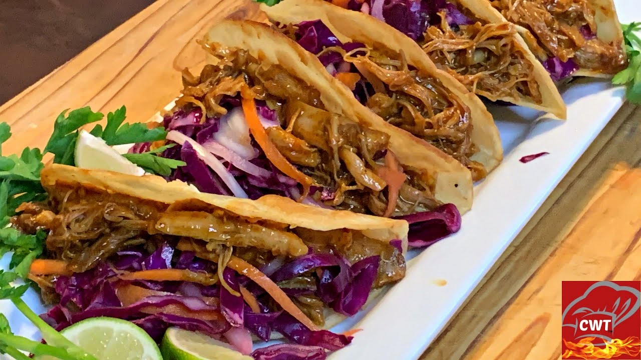 Bbq Shredded Chicken Tacos 2 Ways Crockpot No Crockpot Recipe Youtube
