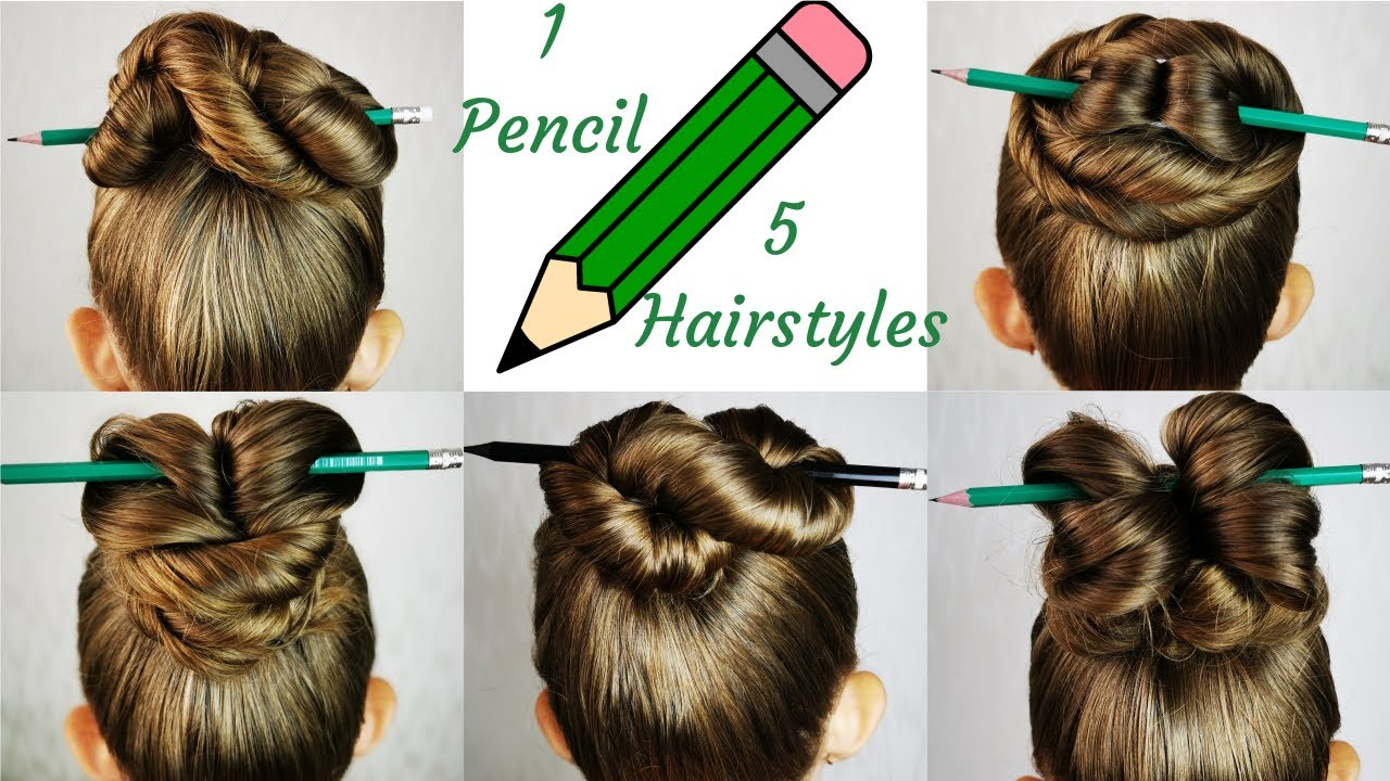 5 Easy and Amazing hairstyles with pencil! 1-minute bun hairstyles!