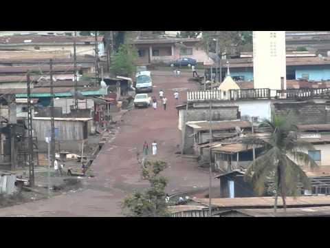 A street in the village of Moanda in eastern Gabon