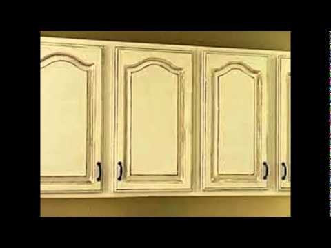 - How To Antique White Kitchen Cabinets - YouTube