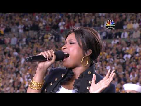 Jennifer Hudson - The Star Spangled Banner, Super Bowl XLIII 2009, subtitles lyrics HD 720p