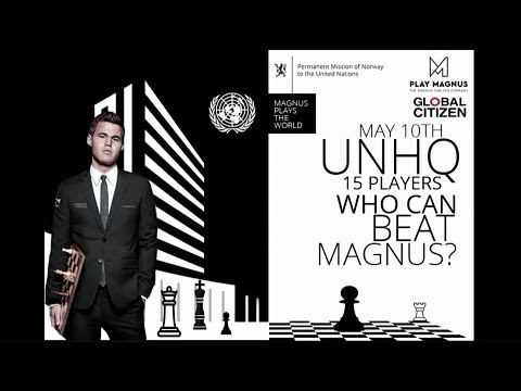 Chess Champion Magnus plays 15 others from around the world simultaneously