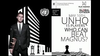 Chess Champion Magnus plays 15 others from around the world simultaneously thumbnail