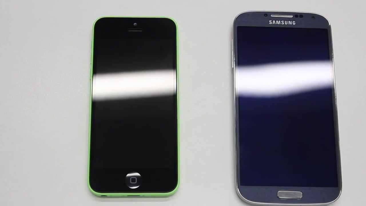 iPhone 5C vs Samsung Galaxy S4 - BOOT TEST - YouTube