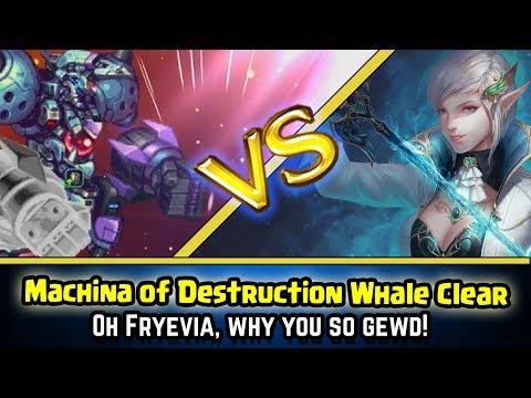 Final Fantasy Brave Exvius - Machina of Destruction Whale Clear!  Aigaion VS Fryevia!