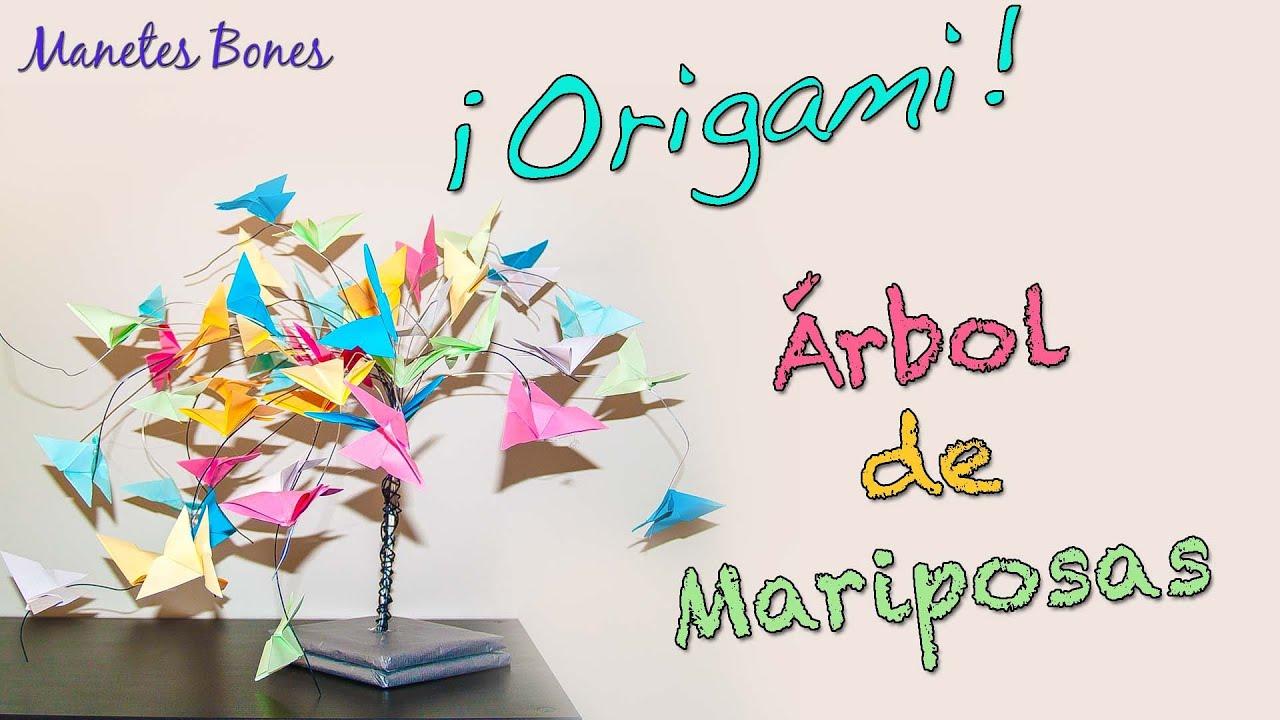 Rbol de mariposas de papel tutorial diy origami youtube for Mariposas de decoracion para pared
