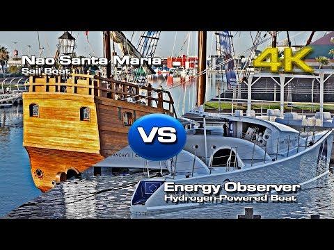 Nao Santa Maria VS Hydrogen Power Boat (Energy Observer) [4K]