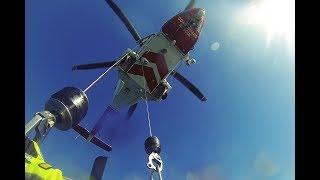 Coastguard Helicopter Swimmer / Diver Winch Rescue GoPro POV [HD]