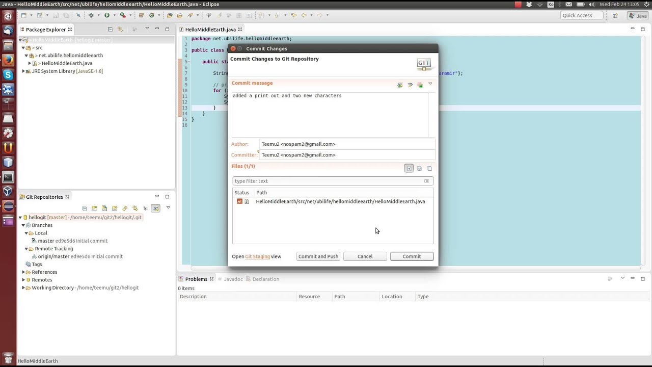 Git tutorial 2: Committing, pushing, pulling and resolving conflicts with  git and Eclipse 4 5 1