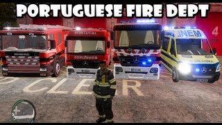GTA IV - Portuguese Fire Dept responding to a warehouse fire / Bombeiros Portugueses