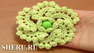 Crochet 6-Petal Flower Урок 60 часть 1 из 2 Цветы крючком