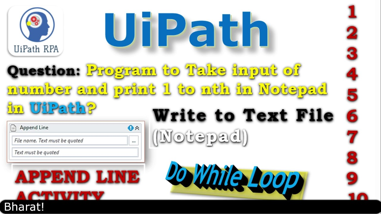 Do While Activity||Append Line Activity||Print 1 to 10 number||UiPath RPA  Tutorial