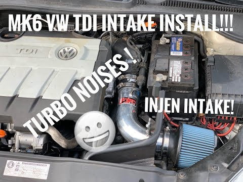 MK6 VW TDI COLD AIR INTAKE INSTALL! ( STOCK VS INJEN INTAKE COMPARISON!