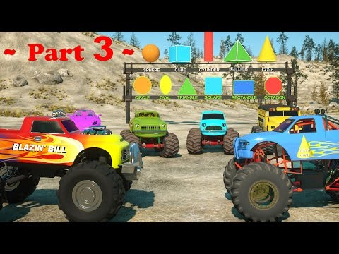 Thumbnail: Learn Shapes And Race Monster Trucks - TOYS (Part 3) | Videos For Children