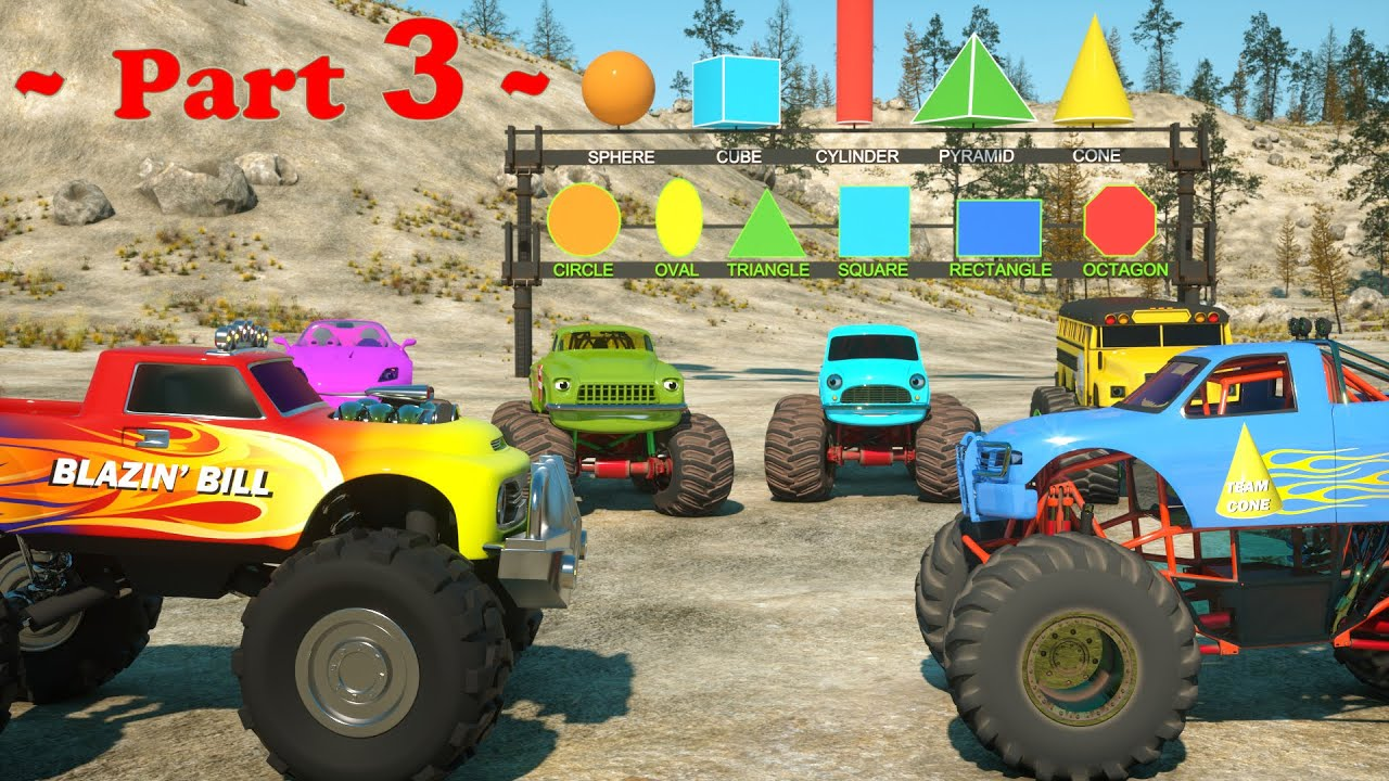 Learn Shapes And Race Monster Trucks Toys Part Videos For