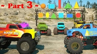 Learn Shapes And Race Monster Trucks - Toys Part 3   Videos For Children