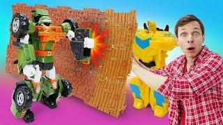 Видео про игрушки. Трансформеры и Тобот в битве за Куб Энергона! Видео с игрушками для мальчиков.