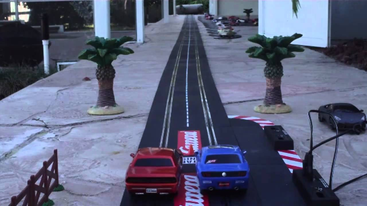 RC SLOT CARS HEADS UP DRAG RACING - YouTube