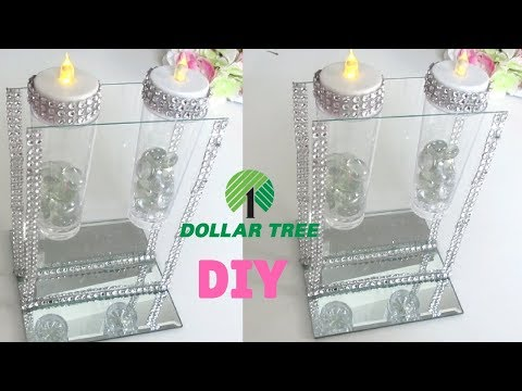 DIY DOLLAR TREE BLING💎 CANDLE HOLDER | DIY Levitating flower vase 💎