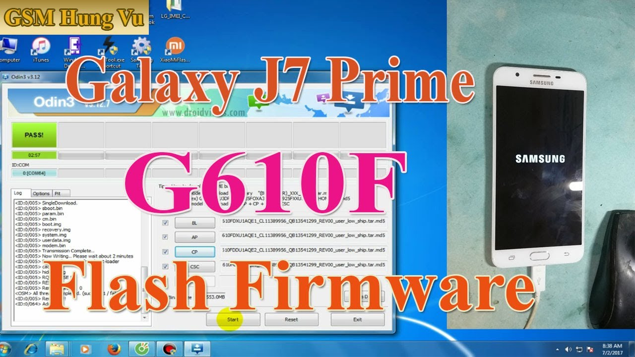 Flash stock firmware Samsung Galaxy J7 Prime by Odin3 v3 12 7