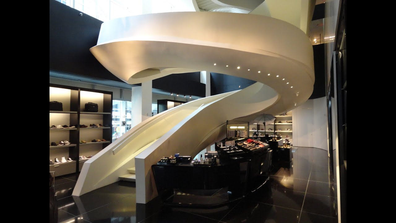 Escalera circular en local Armani, quinta avenida, NY - YouTube