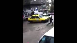 السيول التي سببتها أمطار دمشق اليوم في حي المهاجرين   مصطبة