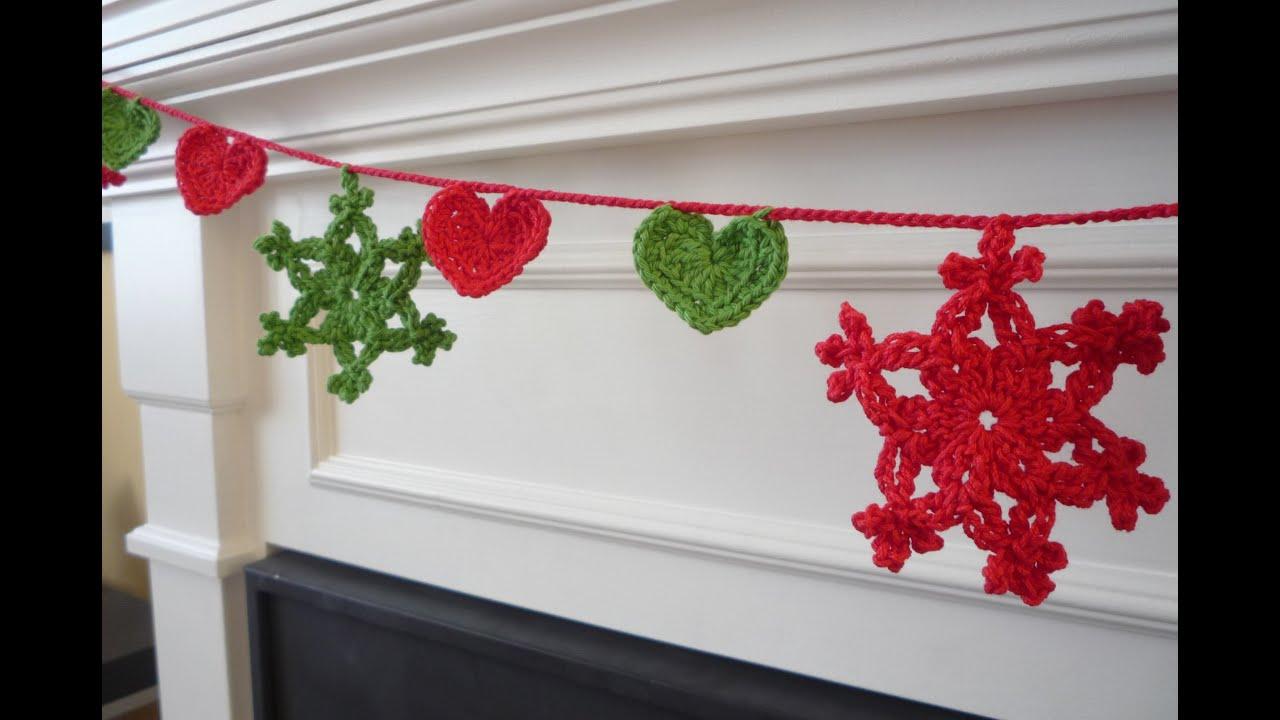Crochet, Guirnalda de Navidad - YouTube