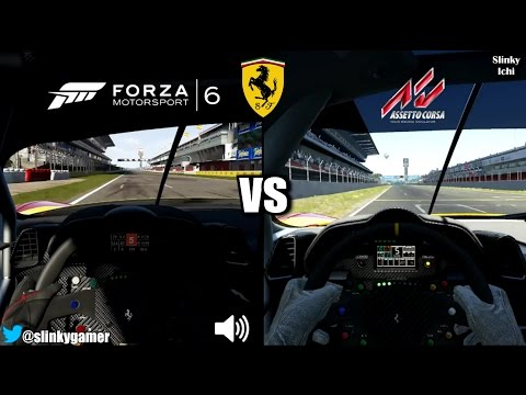 Forza Motorsport 6 vs Assetto Corsa - Onboard Ferrari 458 GT2 @ Barcelona - Graphics and sound