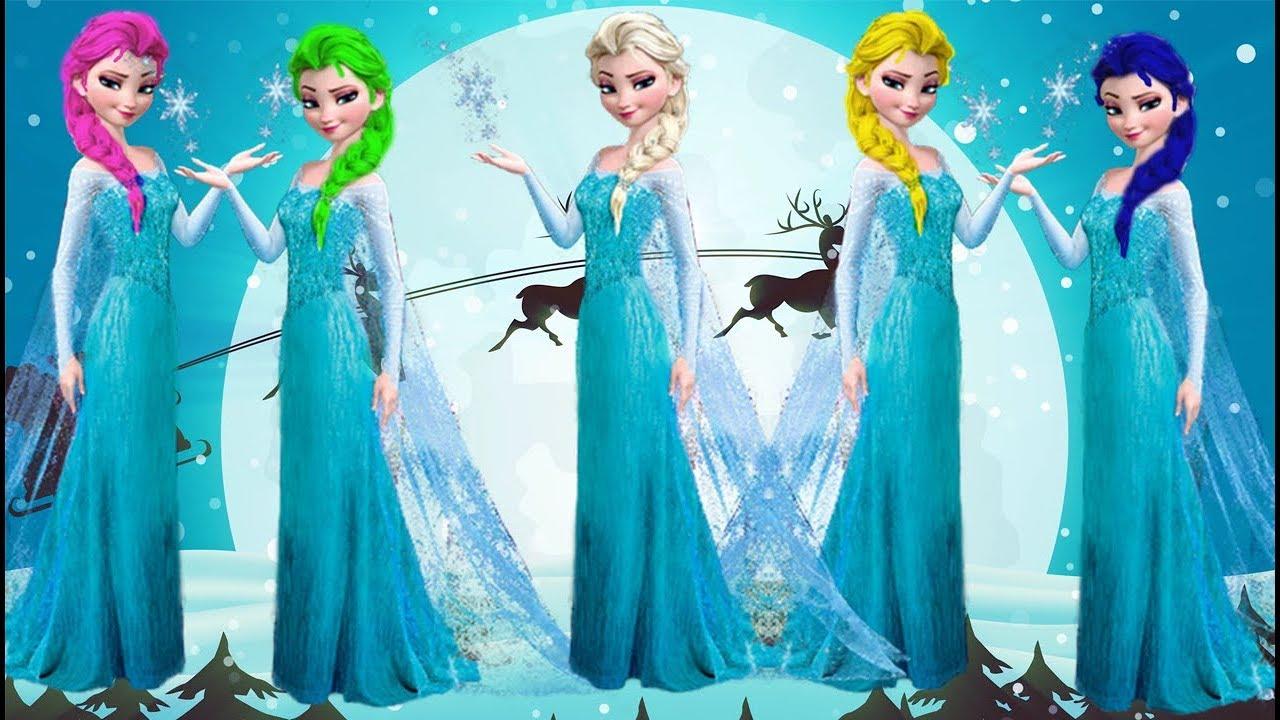 Learn Color With Elsaprincess Elsa Change Hair Color Family Song