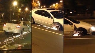 بالفيديو: استمرت في قيادة سيارتها على الرغم من فقدانها للإطار