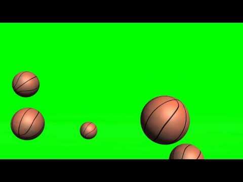 basketballs fall and jump - green screen effects