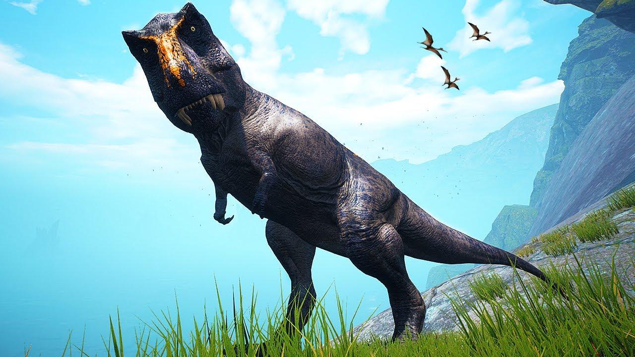 Dinossauro - Tiranossauro Rex Dark, Bebê Trike Abandonado, Dia de Caçar Giganotossauro - The Isle🦕