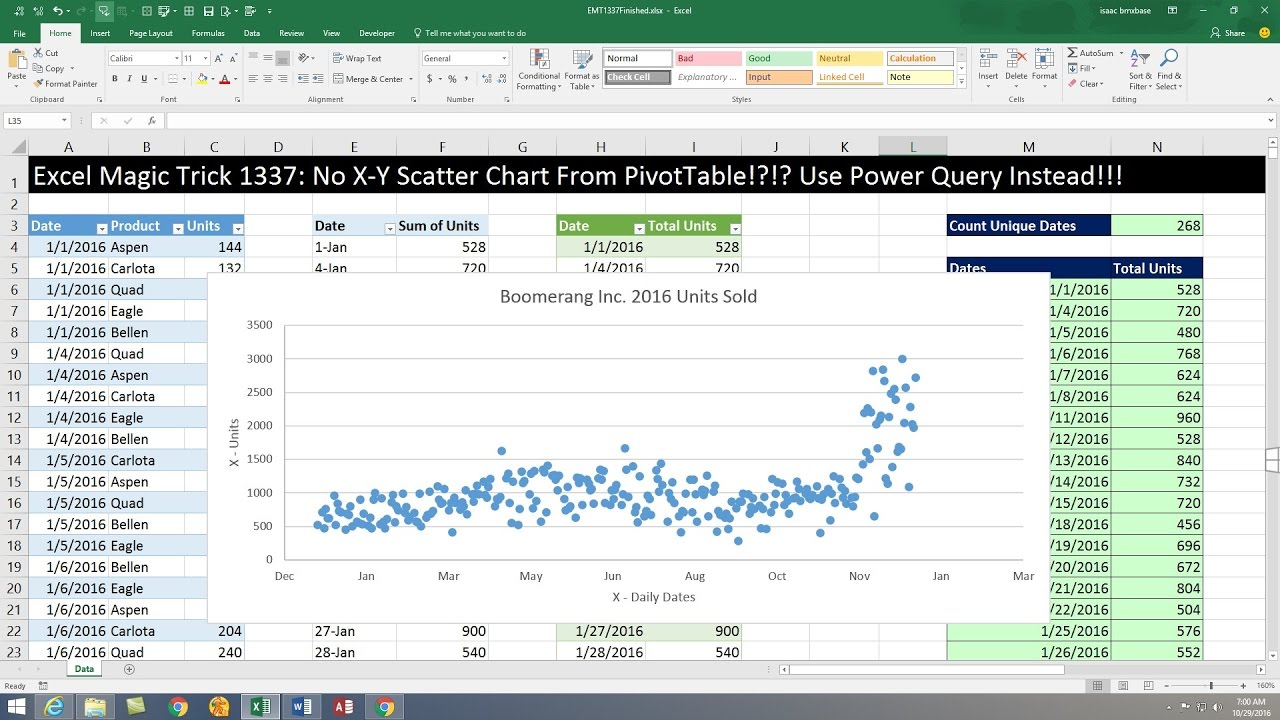 Excel magic trick no   scatter chart from pivottable use power query instead also rh youtube