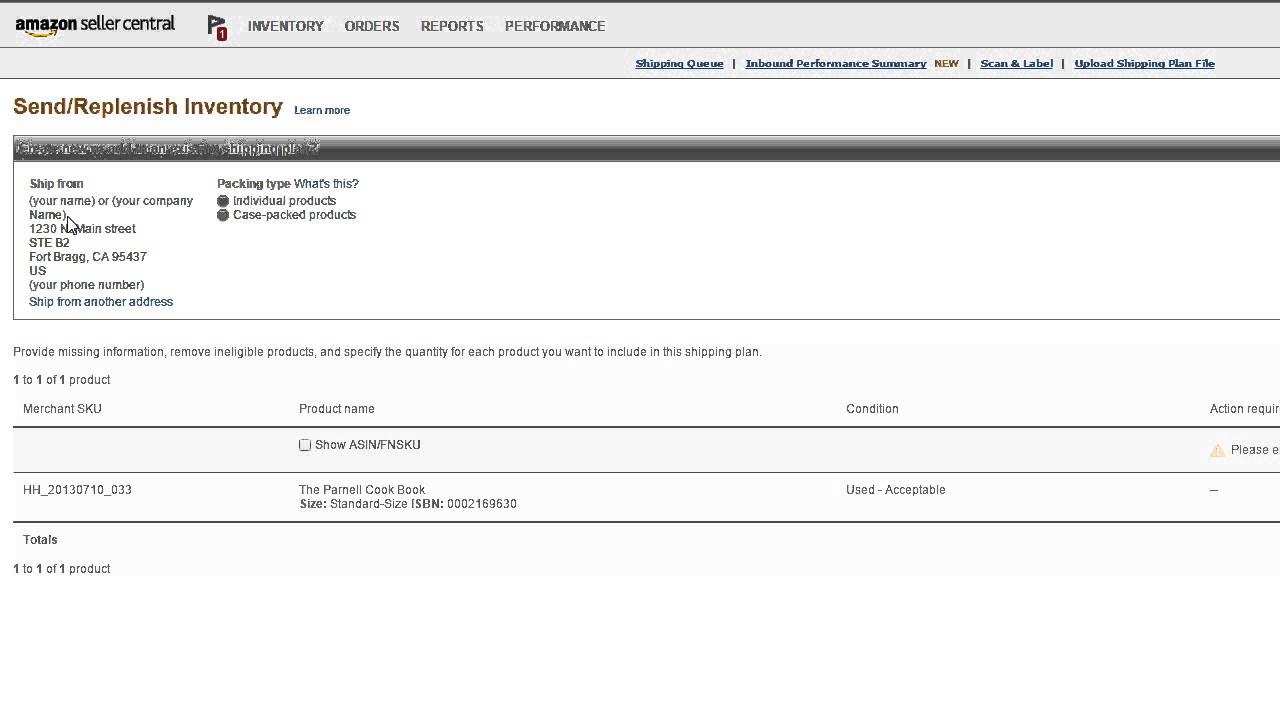 Amazon seller address