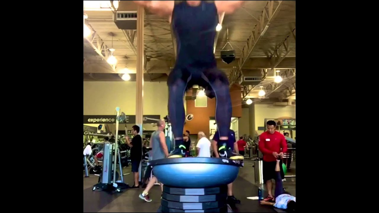 Bosu Ball Side Jumps: CRAZY Bosu Ball Box Jumps!!!