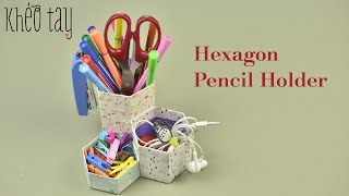 DIY Hexagon Paper Pencil Holder - How to Make Pen Stand Origami Pencil Holder Easy Tutorials